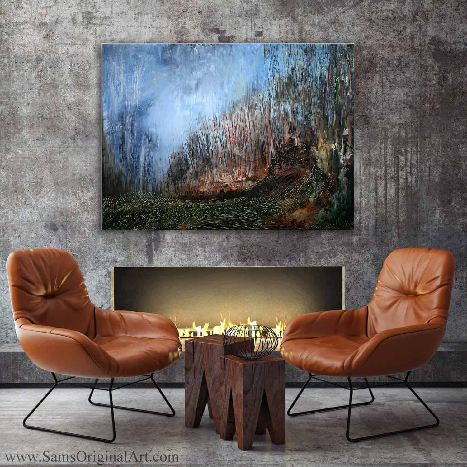 Giclee Wall Print Over Fireplace Title: Zephyr