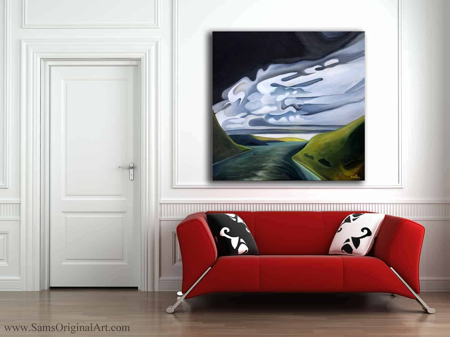 painting of burrard inlet modern decor