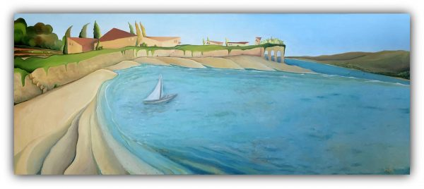 south of france beach painting with sail boats