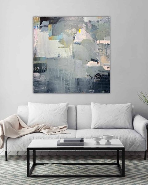 grey and white modern painting