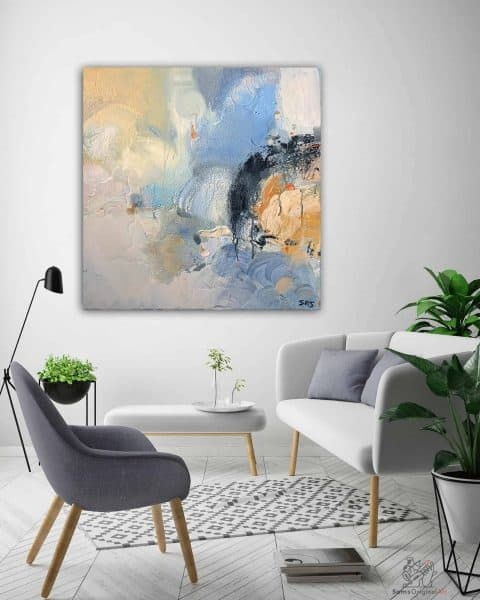abstract white and blue painting
