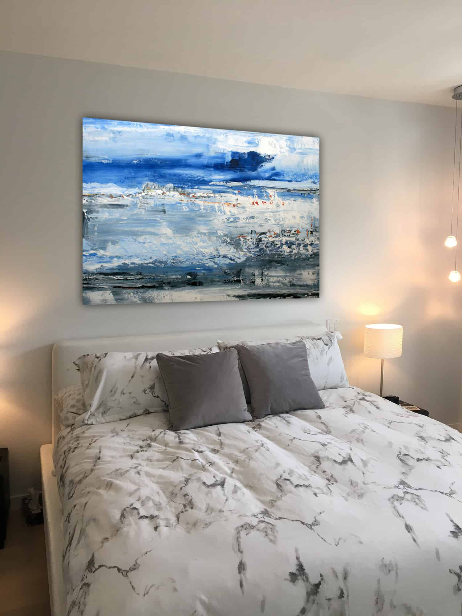 blue and white abstract paintings Vancouver